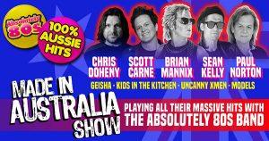 Made in Australia Absolutely 80s show. Chris, Scott, Brian, Sean, Paul.